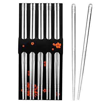 rbenxia 5 pc palillos palillos de acero inoxidable 8,9 pulgadas Acero Metal Palillos reutilizables