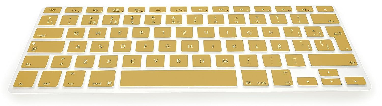 MyGadget Coque Clavier QWERTY pour Apple Macbook Air 13 // Pro 13 /& 15 Pouces Couverture Ultra Fine en Rose Espagnol Protection poussi/ère Silicone Flexible