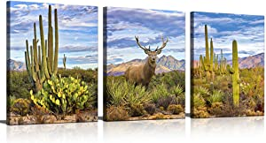 KuyiArt 3 Pieces Modern Wall Art Elk Cactus Picture Landscape Animal Photo Canvas Painting Prints for Home Living Room Decor Stretched and Framed