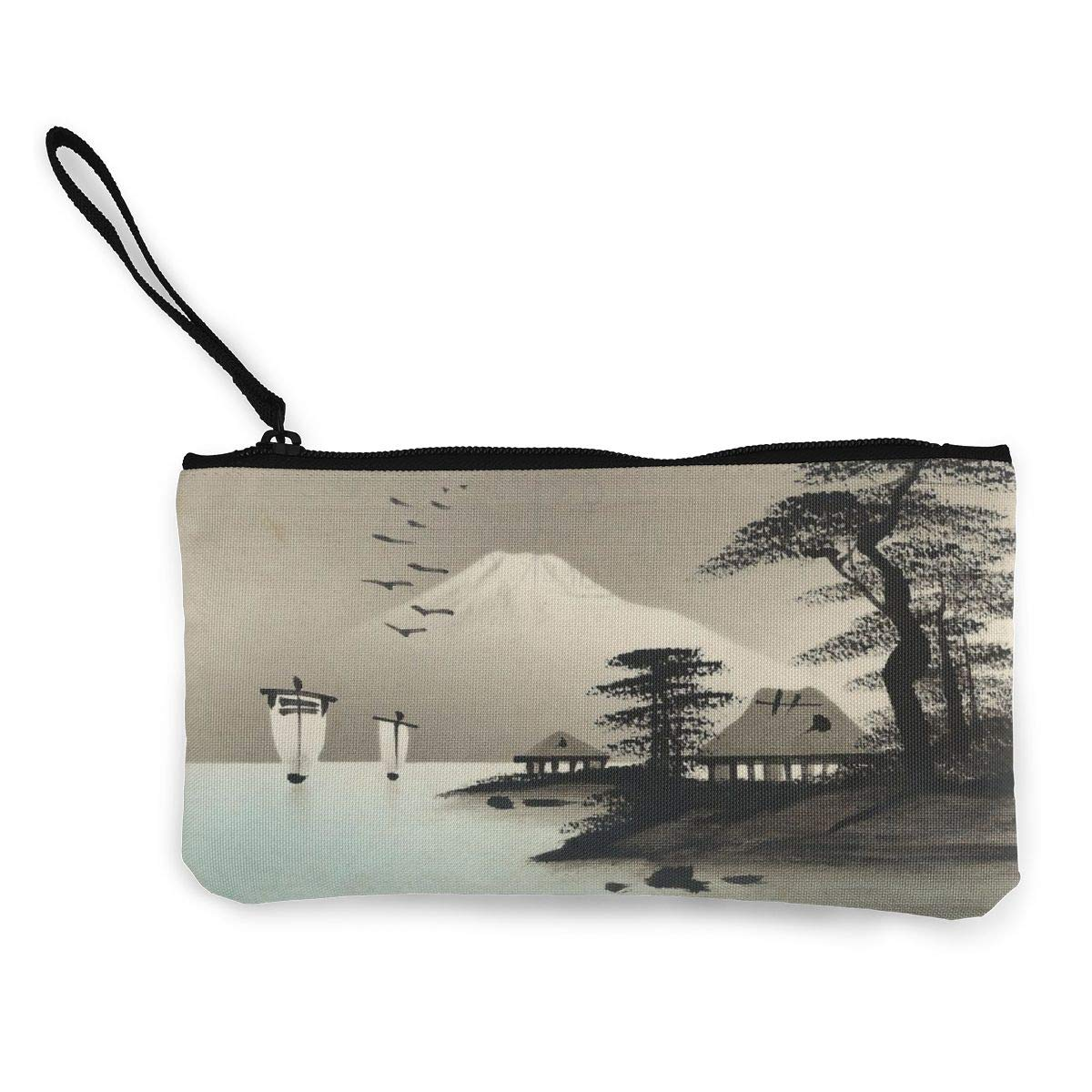 YUANSHAN Japanese Painting Unisex Canvas Coin Purse Change Cash Bag Zipper Small Purse Wallets with Handle