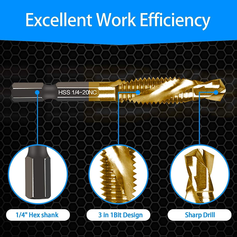 6 Packs Titanium Combination Drill /& Taps Bit Set SAE 6-32nc 8-32nc 10-32nc 10-24nc 12-24nc 1//4-20nc.