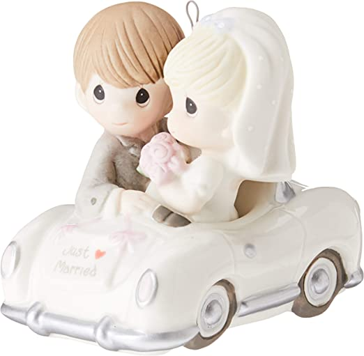 Precious Moments Christmas Gifts Just Married Bisque Porcelain Ornament 131008 Home Kitchen Amazon Com