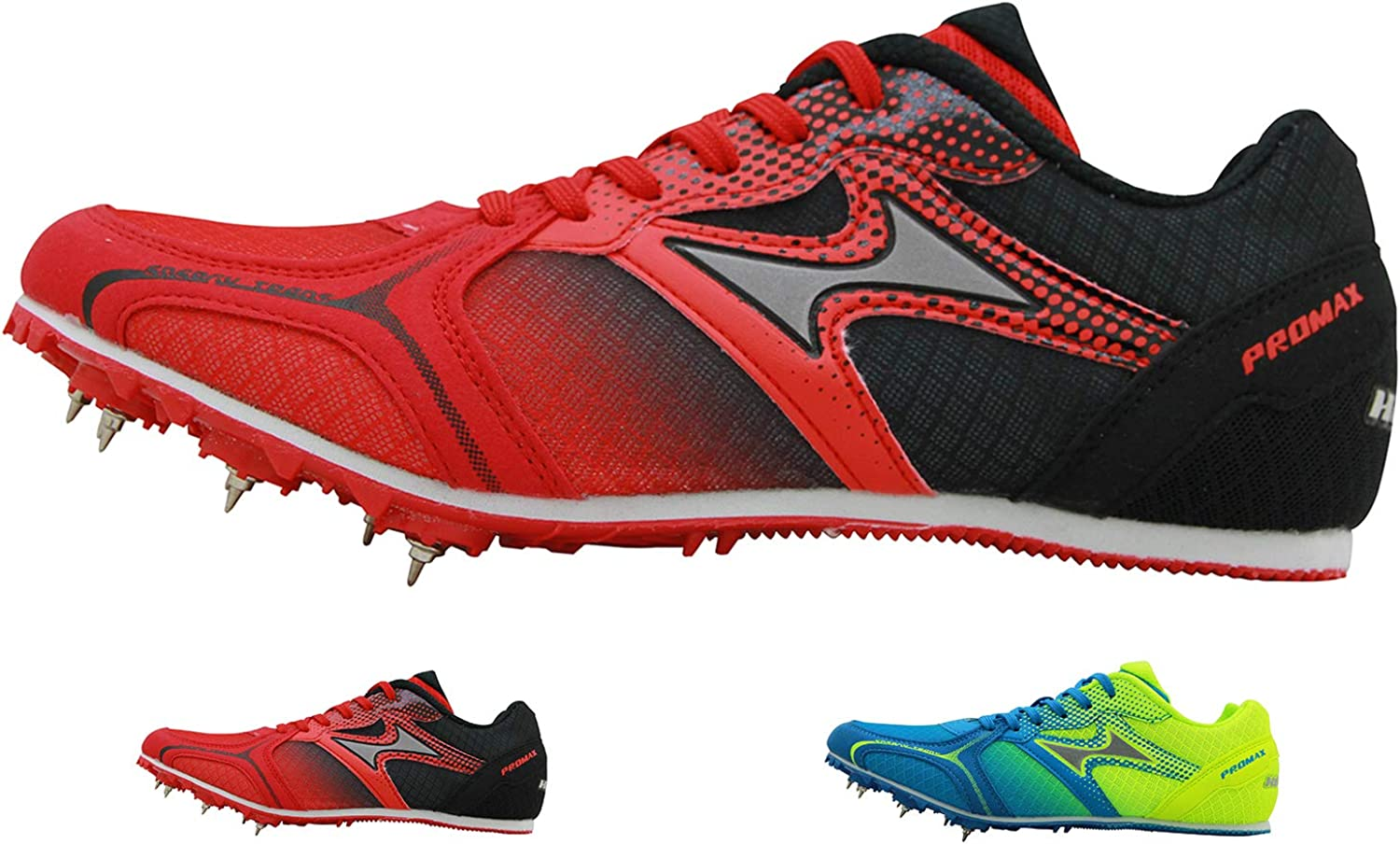 HEALTH Track Spike Running Sprint Shoes Track and Field Shoes Mesh Breathable Lightweight Professional Athletic Shoes 5599 Blue Red for Kids, Boys, Girls,Womens, Mens