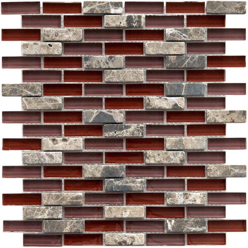Sierra Subway Bordeaux 11 3/4 x 11 3/4 Inch Glass and Stone Mosaic Wall Tile (10 Pcs/9.6 Sq. Ft. Per Case, $1 Standard Shipping)