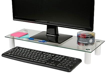 Amazon Com Mind Reader Computer Laptop Desk Imac Dell Hp Glass