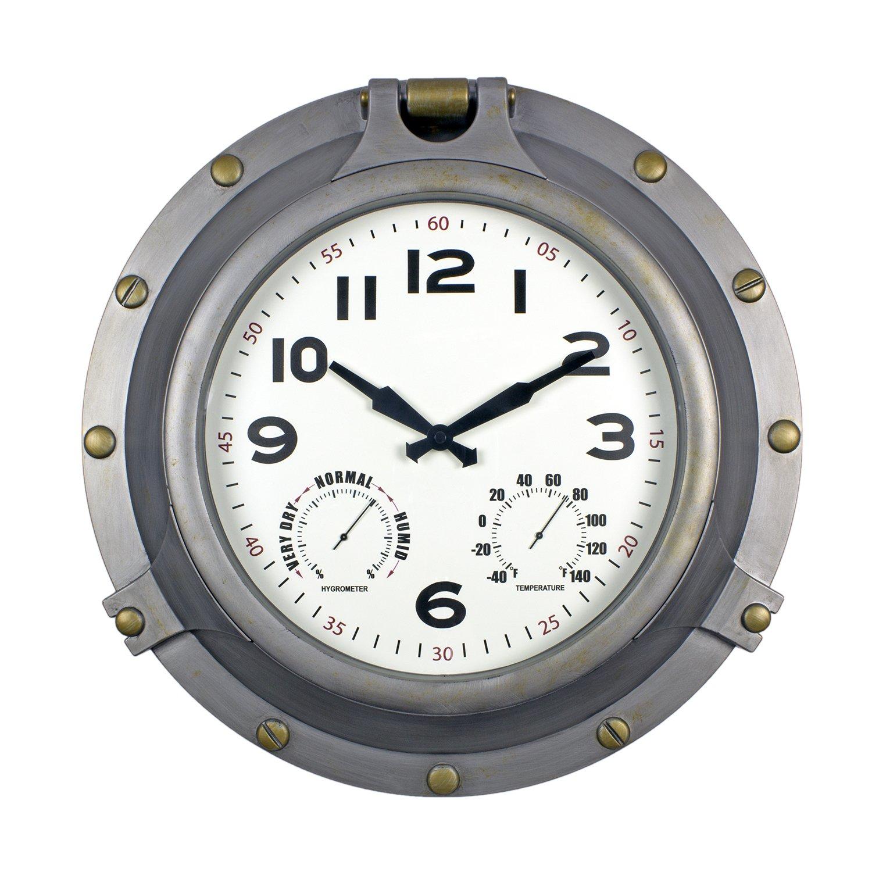 Poolmaster 52538 18'' Silver Porthole Clock/Hygrometer, Thermometer