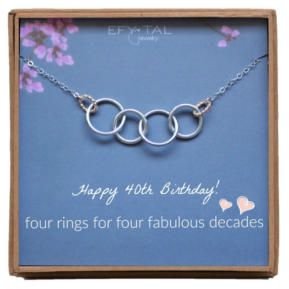Efy Tal Jewelry Happy 40th Birthday Gifts for Women Necklace, Sterling Silver 4 Rings Four Decades Necklaces Gift Ideas