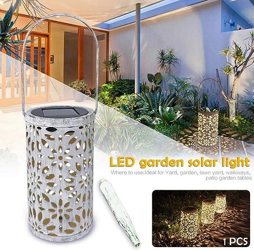 Motto.h - Farol Solar LED para jardín Solar Exterior, Farol Colgante cilíndrico de Noche Impermeable IP44 para jardín, decoración de Viento, lámpara de jardín, césped, luz al Suelo: Amazon.es: Hogar
