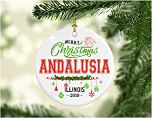 Christmas Decorations Tree Ornament - Gifts Hometown State - Merry Christmas Andalusia Illinois 2019 - Gift for Family Rustic Christmas Tree Ceramic 3 Inches White