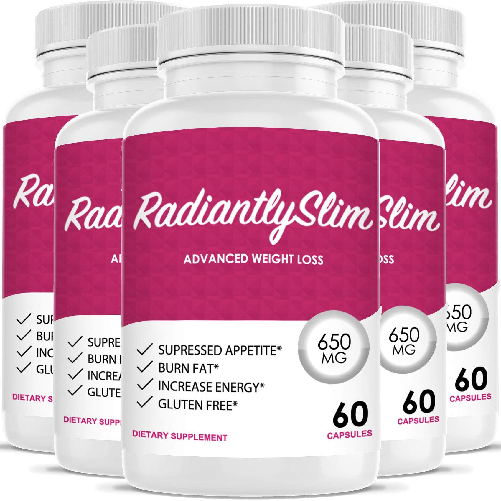 Radiantly Slim Pills for WeightLoss - Advanced Weigh Loss Supplement - Quicker Fat Burn - Carb Blocker (5 Month Supply)