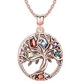 Odinstone Collar de árbol de la Vida, Colgante de Plata de Ley S925 Chapado en Oro/Oro Rosa, joyería de circonio cúbico…