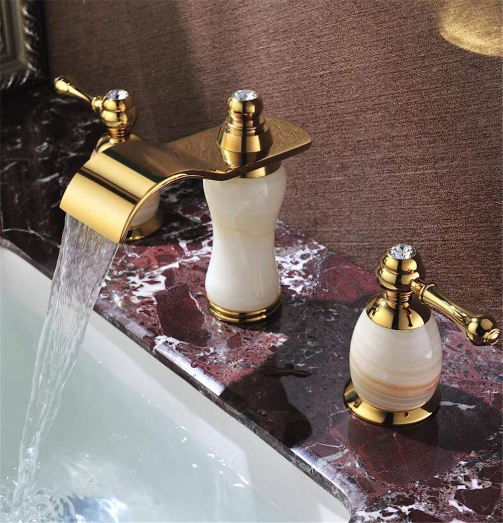 Natural Jade Faucet hot and Cold 8 inch Three-Hole Split Type European Waterfall Golden wash Basin Faucet