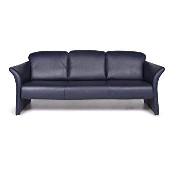 Koinor Designer Leather Sofa Blue Three-Seater Couch ...