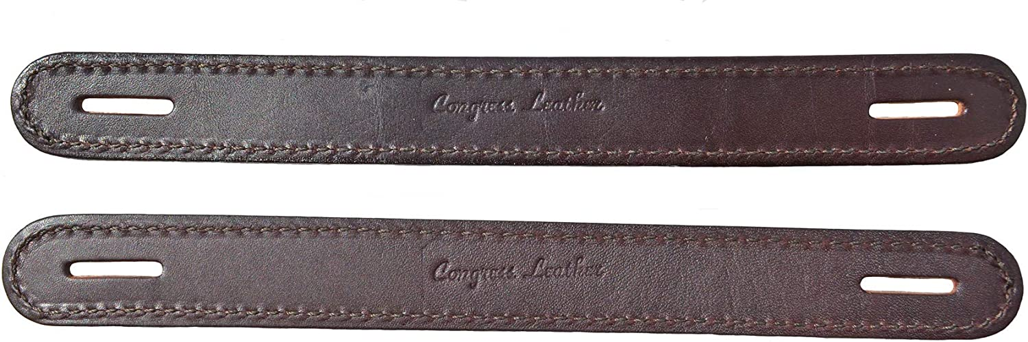 Extra Long Brown Leather Double /& Stitched Slotted Steamer Trunk Handles