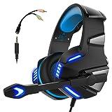 Cuffie Gaming per PS4 Xbox one PC Gamer da Gioco Auricolari con Microfono Micro Gaming Headset Over Ear Gamer Stereo con Cavo LED Telefono Portatile MAC 3,5 mm Controllo Volume (Adattatore Incluso)