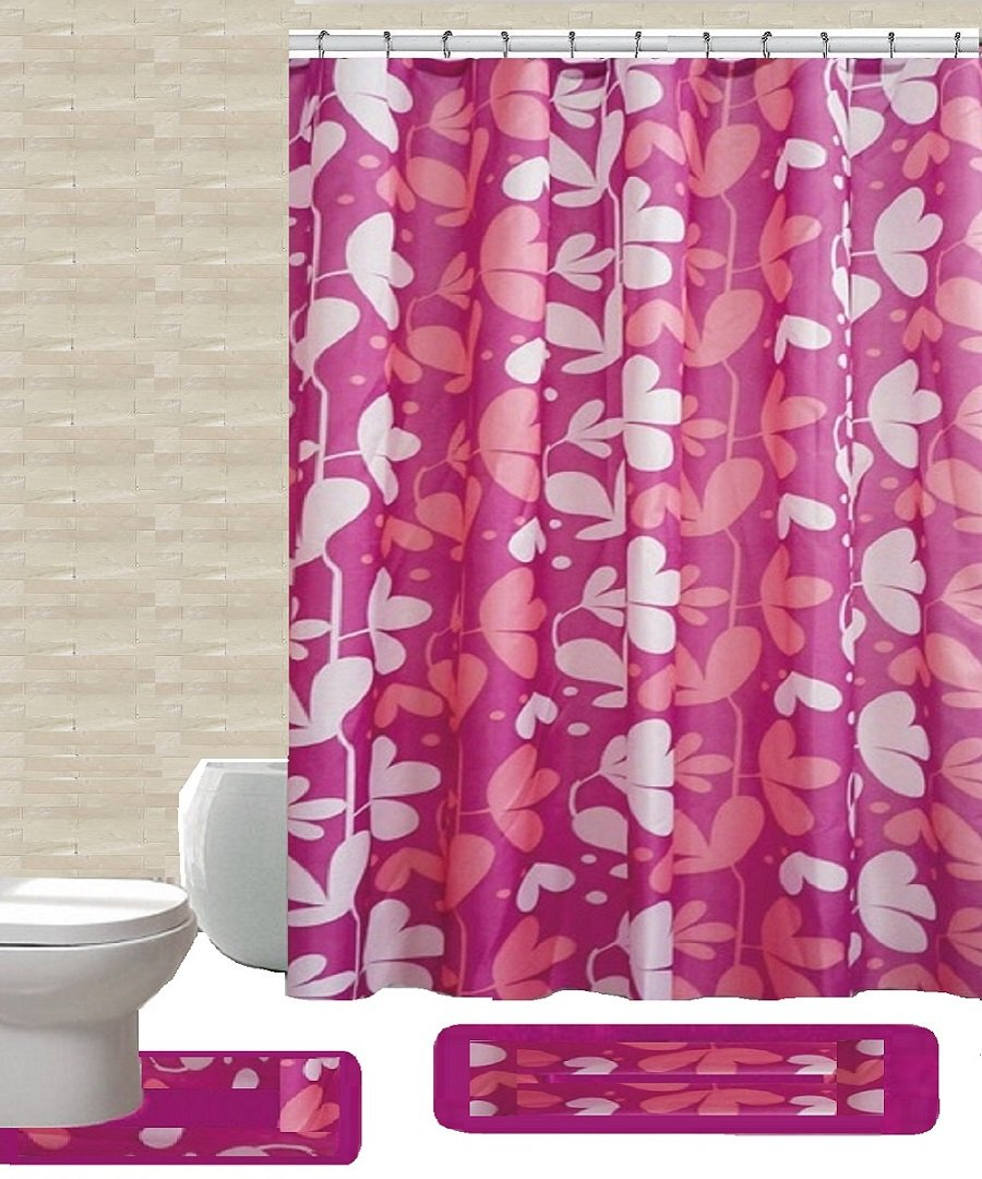 "15 Piece High Quality Geometric,and Floral Designs Banded Shower Curtain Bath Set. Bath Rug 18""x""30 Contour Rug 18""x""18 Shower Curtain 70""x""72 , 12 Metal Crystal Roller Ball Shower Hooks. (Gloria"