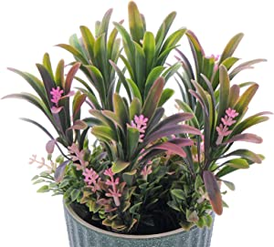 Artificial Plants with Ceramic Pots Fake Green Grass Potted FriyGardcn Plastic Faux Greenery Faux Assorted Lifelike Plants for Farmhouse Bathroom Home Office Décor, House Decorations (Pink)