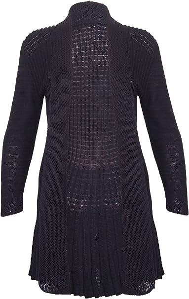 Womens Ladies Knitted Waterfall Boy Friend Long Sleeves Open Cardigan Top
