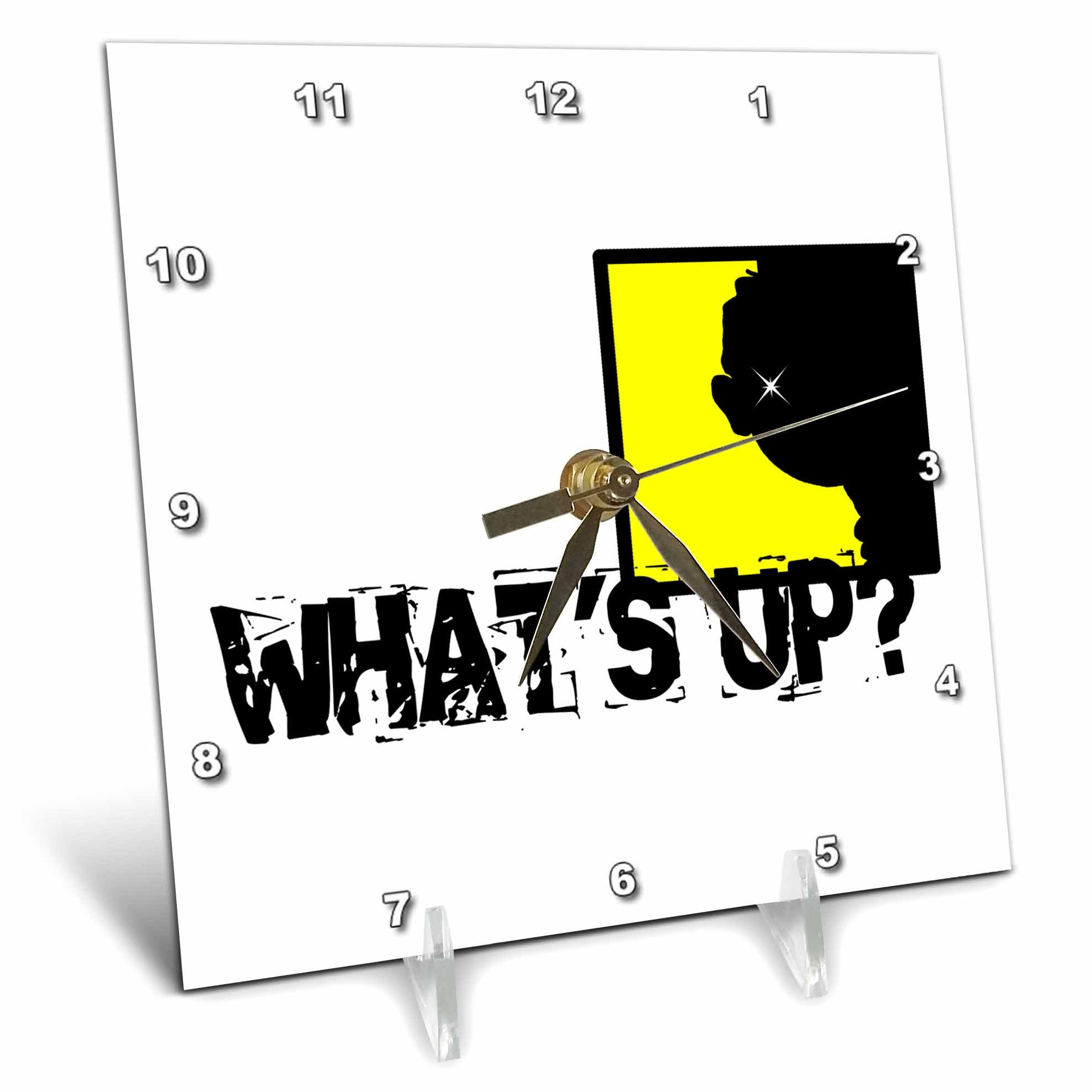 3dRose Alexis Design - Funny - A head in an yellow window. What is up. Funny design on white - 6x6 Desk Clock (dc_271649_1)