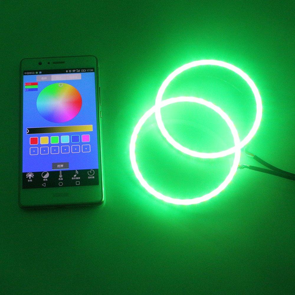 12 V Grandview 1-Set 120 mm Multicolor RGB LED Halo Anillos Luz COB 60SMD Mart tel/éfono IOS Android APP Control de Bluetooth coche Angel Eyes Anillo de c/írculo l/ámpara luces de conducci/ón diurna de los faros DRL