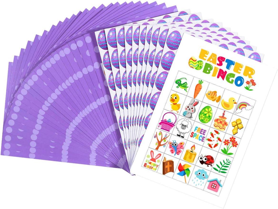 Amosfun Juego de Bingo de Pascua de 35 Hojas Que Incluye 24 Piezas de Tarjeta de Jugador 10 Piezas de Chip de Jugador Y Un Chip de Llamada para Regalo de Juguete para Ni/ños