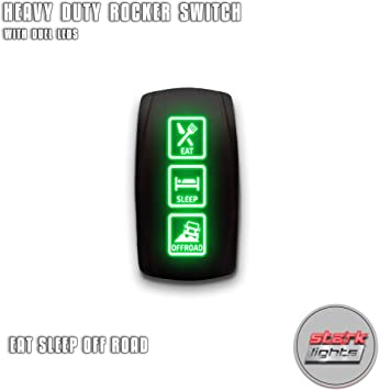 GREEN OFFROAD LIGHTS On//Off Horizontal Laser Rocker Switch 5 Pin Led 12V UTV