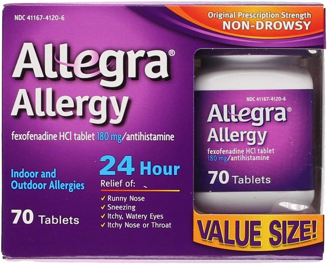 Allegra Adult 24 Hour Allergy Tablets, 70 Tablets, Long-Lasting Fast-Acting Antihistamine for Noticeable Relief from Indoor and Outdoor Allergy Symptoms