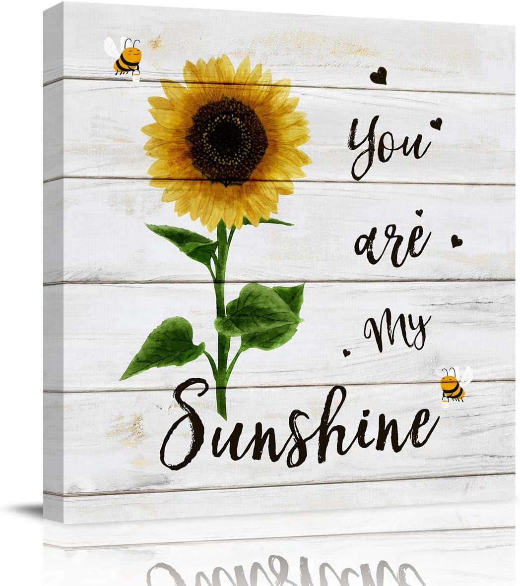 applebless Oil Painting on Canvas Sunflower You are My Sunshine Wall Art Home Decor Bee Heart Wooden Plank Modern Pictures Painting for Living Room, Ready to Hang - 8x8 inches