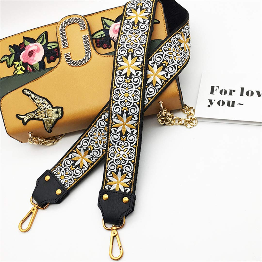 Fashion Embroidery Wide Shoulder Bag Strap Female Handbag Straps You For Bags Accessories Colorful Straps For Handbags Belt Yellow silver buckle