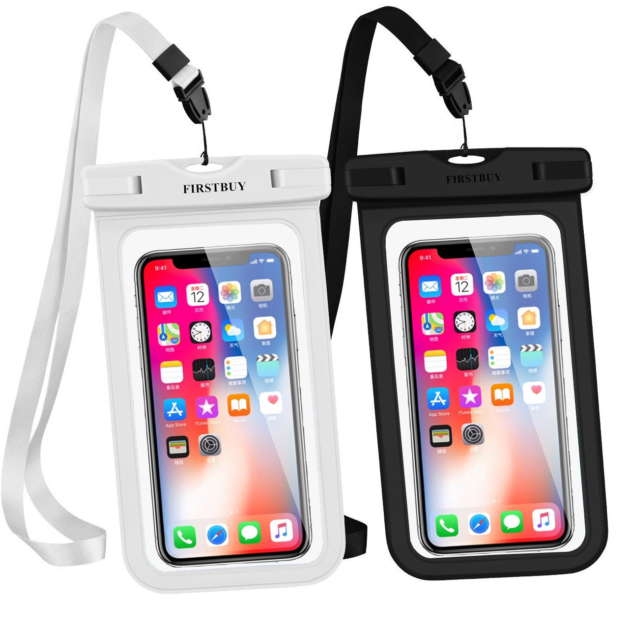FIRSTBUY waterproof case, Universal Waterproof Phone Pouch Certified IPX8 Underwater Cellphone Case Dry Bag for iPhone X/8/8PLUS/7/7PLUS/6S Samsung Galaxy S9/S8/S7 HTC10 Google Sony Nokia (2 pack)