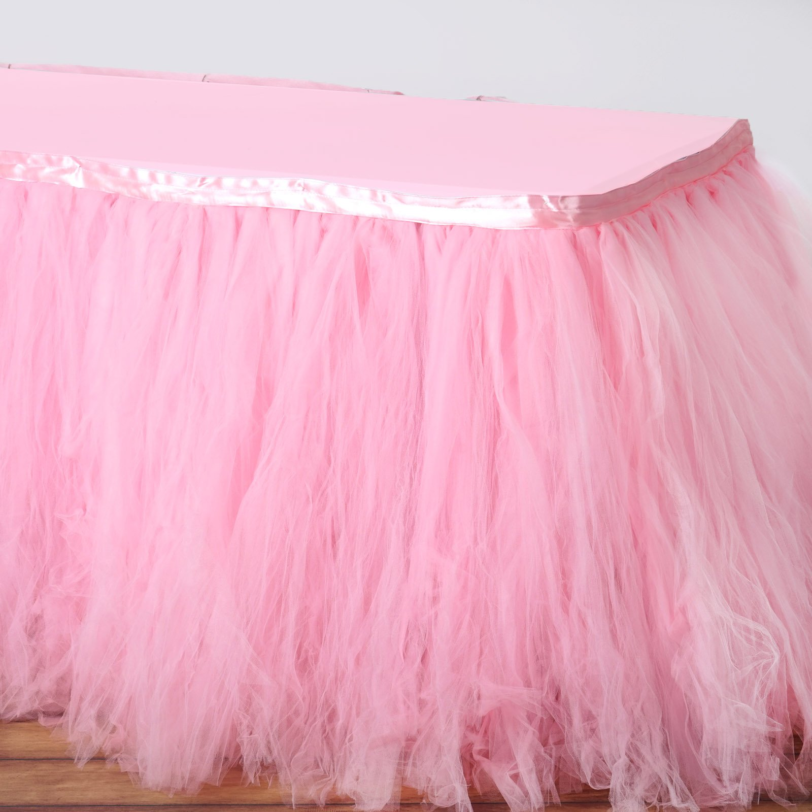 Tableclothsfactory 17ft FULL SIZE 8 Layer Fluffy Tulle - Tutu Table Skirt - Rose Quartz Pink