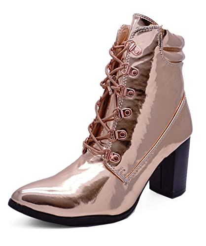 1f97b76c069 Ladies Rose Gold Metallic Lace-Up Block Heel Calf Ankle Military ...