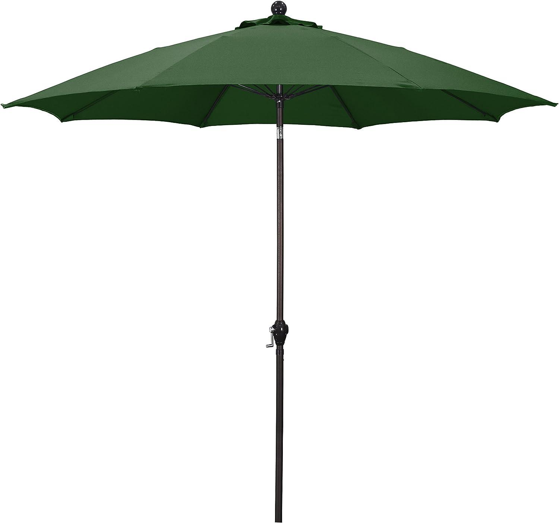 California Umbrella 9' Round Aluminum Pole Fiberglass Rib Umbrella, Crank Open, Push Button 3-Way Tilt, Bronze Pole, Hunter Green