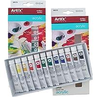 Lote 2 Pintura Acrilica Manualidades Pigmentos Superior, (Set Acrylic Paint Juego De 12 Colores Tubos 12ml) para Maletin Clase de Pintura Adecuada para Niños Profecionales (Acrilicas 12x12ml)
