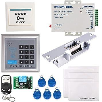 UHPPOTE Completo Kit De Sistema Teclado De Control De Acceso Para Una Puerta 125KHz EM-ID Tarjeta Con Cerradura Eléctrica De Golpe Control Remoto
