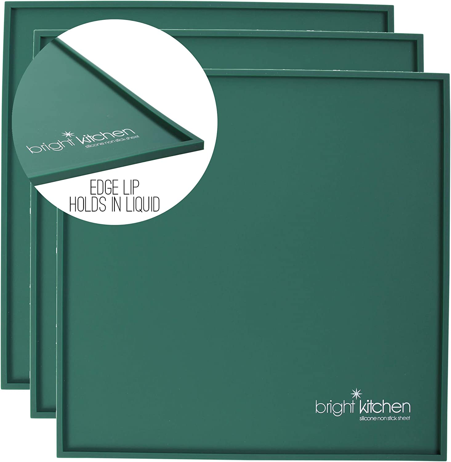 """Set of 3-14"""" x 14"""" Silicone Sheets for Excalibur Dehydrator Bright Kitchen Re-Usable Non-Stick Mat (3 Edge Sheets)"""