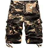 Hycsen Mens Cotton Relaxed Fit Fit Outdoor Camouflage Camo Cargo Shorts