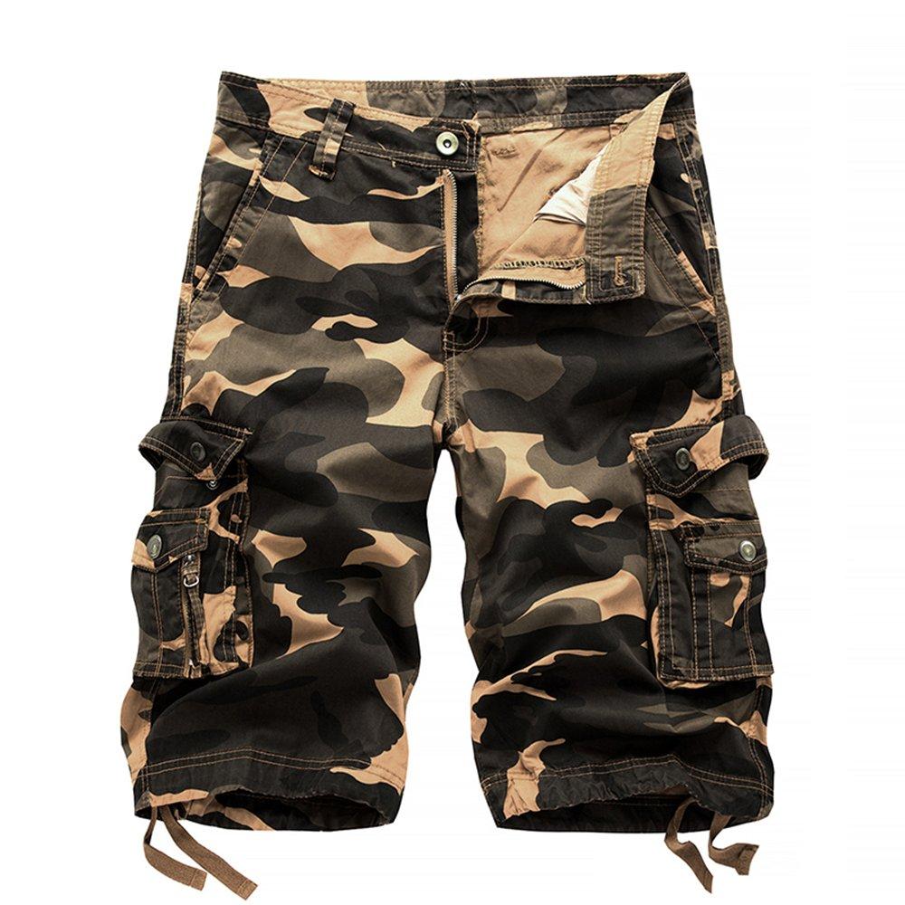 Hycsen Mens Cotton Relaxed Fit Outdoor Camouflage Camo Cargo Shorts-A083-Orange Camo-36
