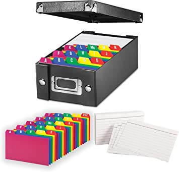 """Index Card Storage Box, Black, 3x5"""" – with Poly Card Guides, A-Z, 3 x 5-Inch, and Heavy Weight Index Cards, 3"""