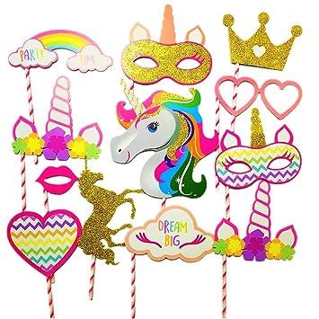 10 pcs JeVenis Rainbow Unicorn Pegasus Photo Booth Props Kit Funny Party Camera Props Fully Assembled Glittering - Rainbow Unicorn
