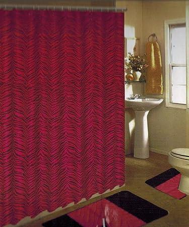 New 15pc Pink/black Zebra Bathroom Bath Mats Set Rug Carpet Shower  Curtainu0026quot;
