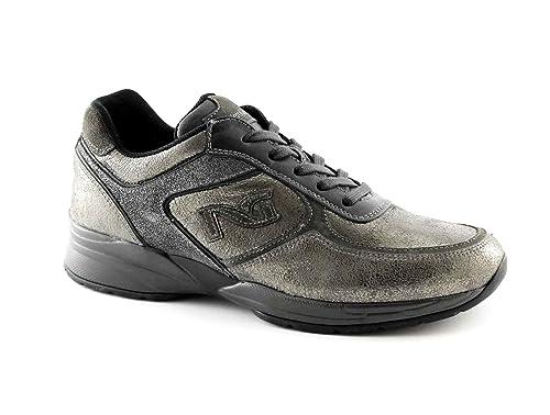 NERO GIARDINI 16031 nero scarpe donna sportive lacci sneaker casual zeppetta