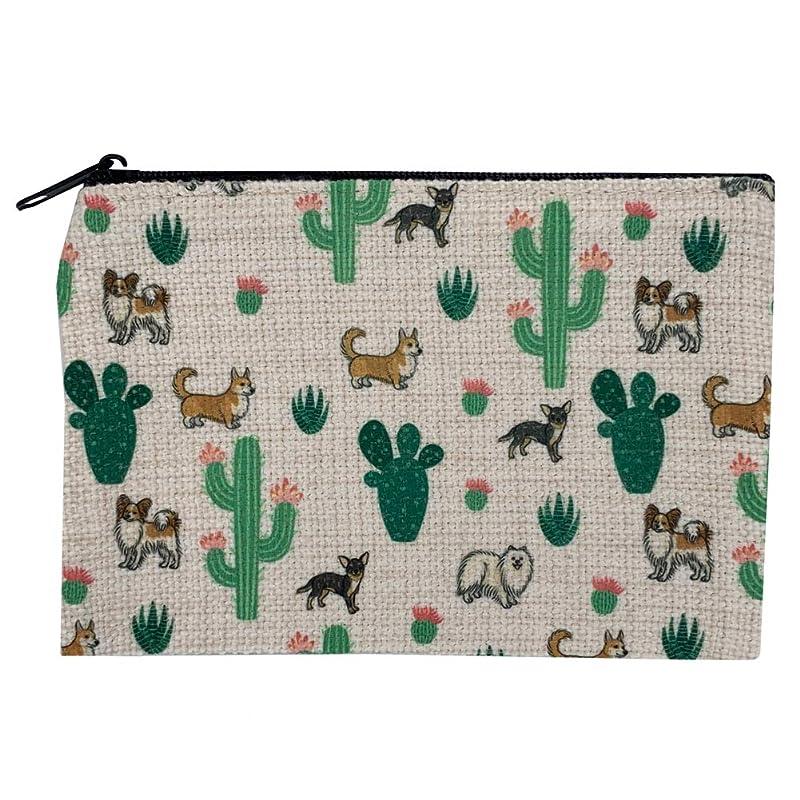 Zip Purse,Linen Cactus Makeup Bag,Pencil Bag Cactus Korean Floral Pencil Bag Change purse Zip pouch Linen Wallet