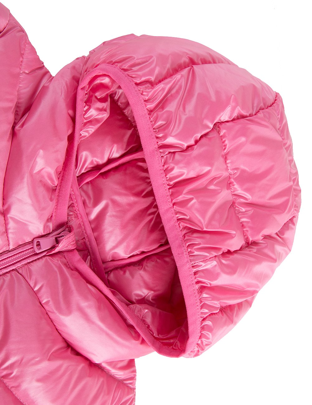 Spring&Gege Boys' Quilted Packable Hoodie Lightweight Puffer Jacket Windproof Outwear Children Warm Duck Down Coat for Boys and Girls Size 7-8 Years Pink by Spring&Gege (Image #6)