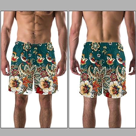 LORVIES - Bañador para hombre, diseño de cachemira y flores, secado rápido, talla L