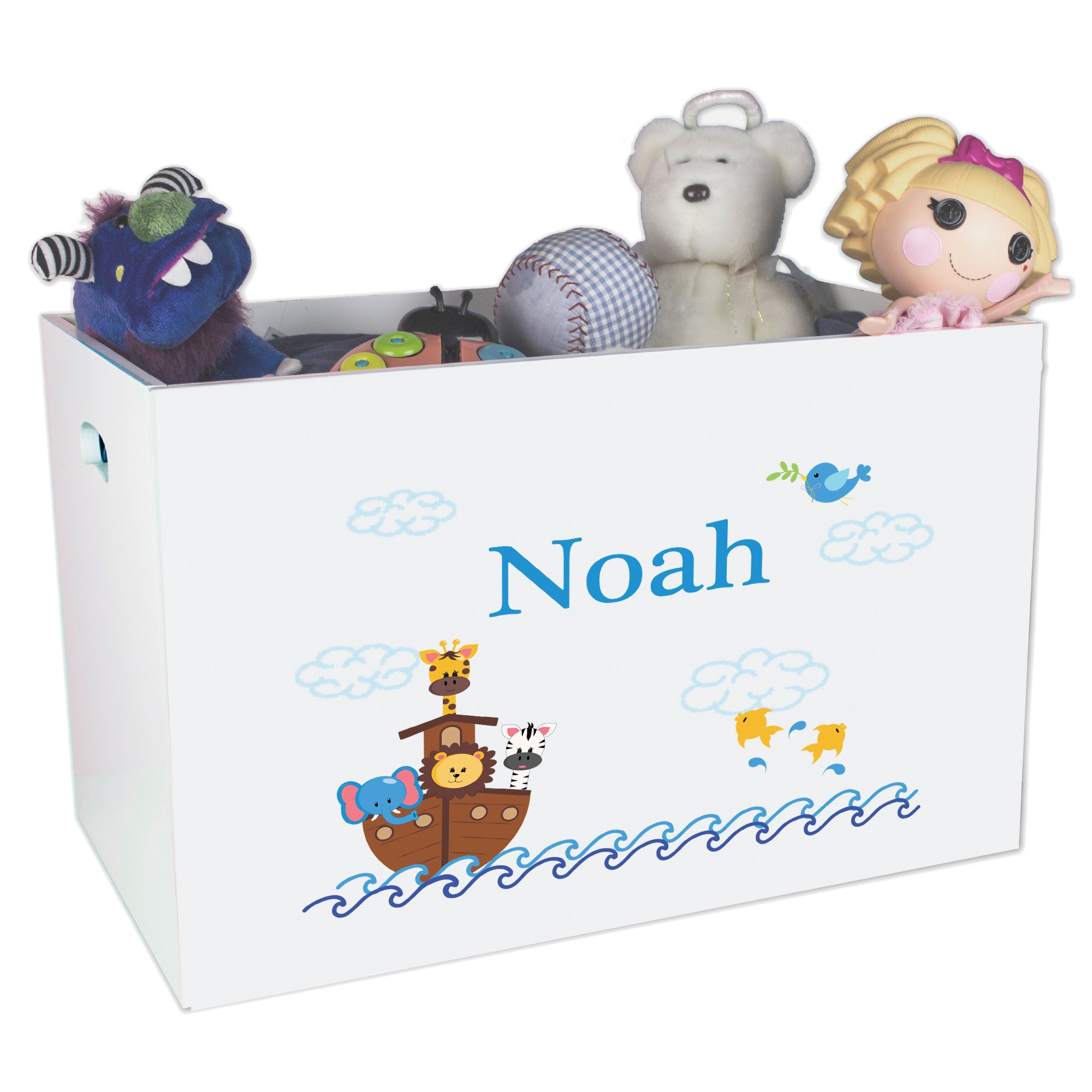Personalized Ark Childrens Nursery White Open Toy Box