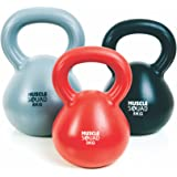 MuscleSquad 3, 5, 8 Kg Kettlebell Set - Vinyl Coated Kettlebell Weights - Kettlebell Weights Workout Equipment For Home Or Gym Use - Exercise Chart Included - Set Of 3