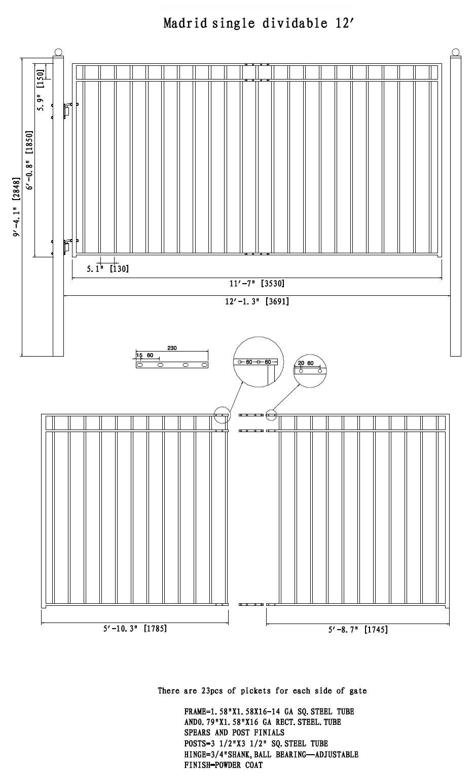 ALEKO Madrid Style Iron Wrought Gate 12' Ornamental Single Swing or Slide Driveway Gates 12'