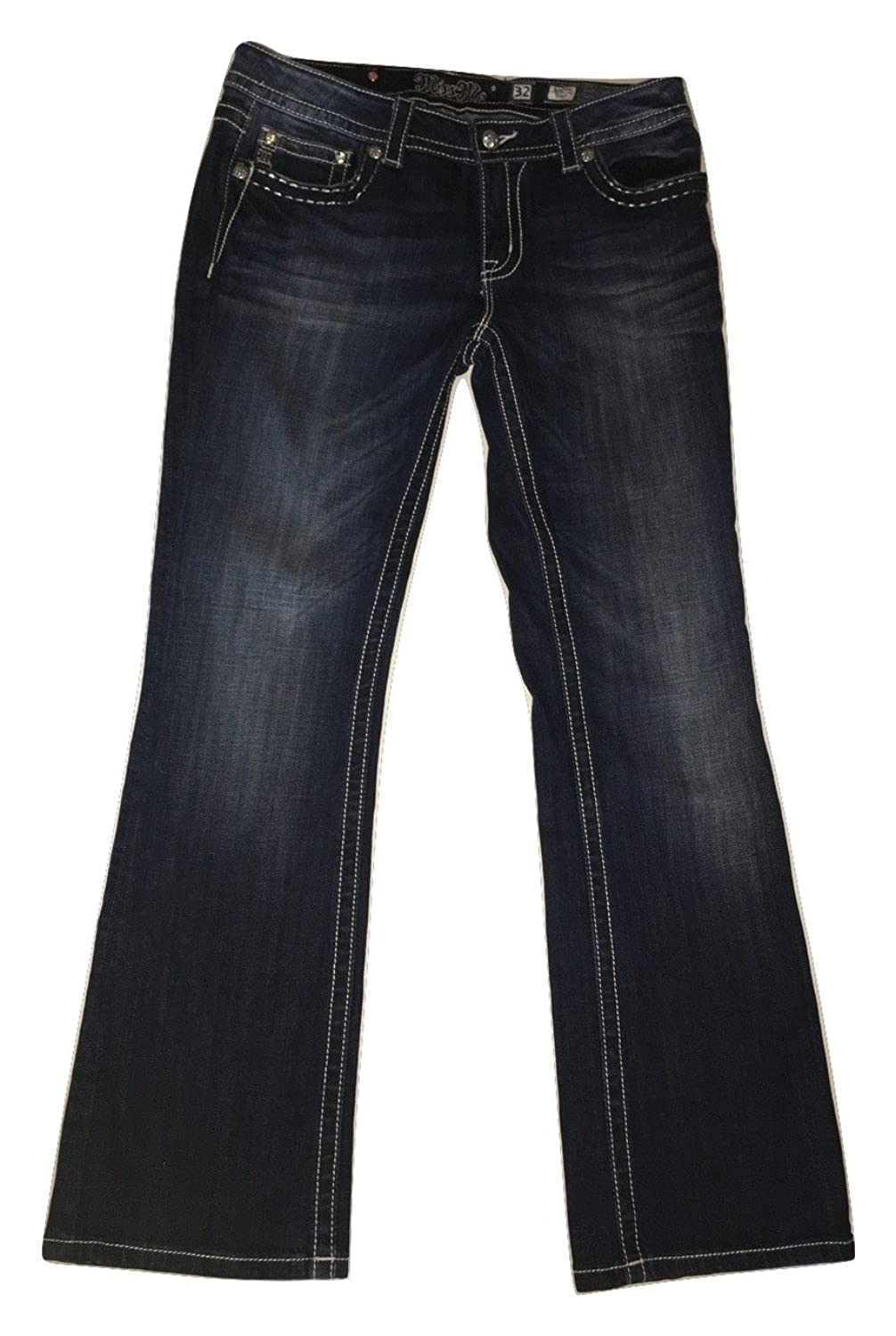Miss Me Women's Distressed Lace-Inset Bootcut Jeans Dark Blue Wash Size 32
