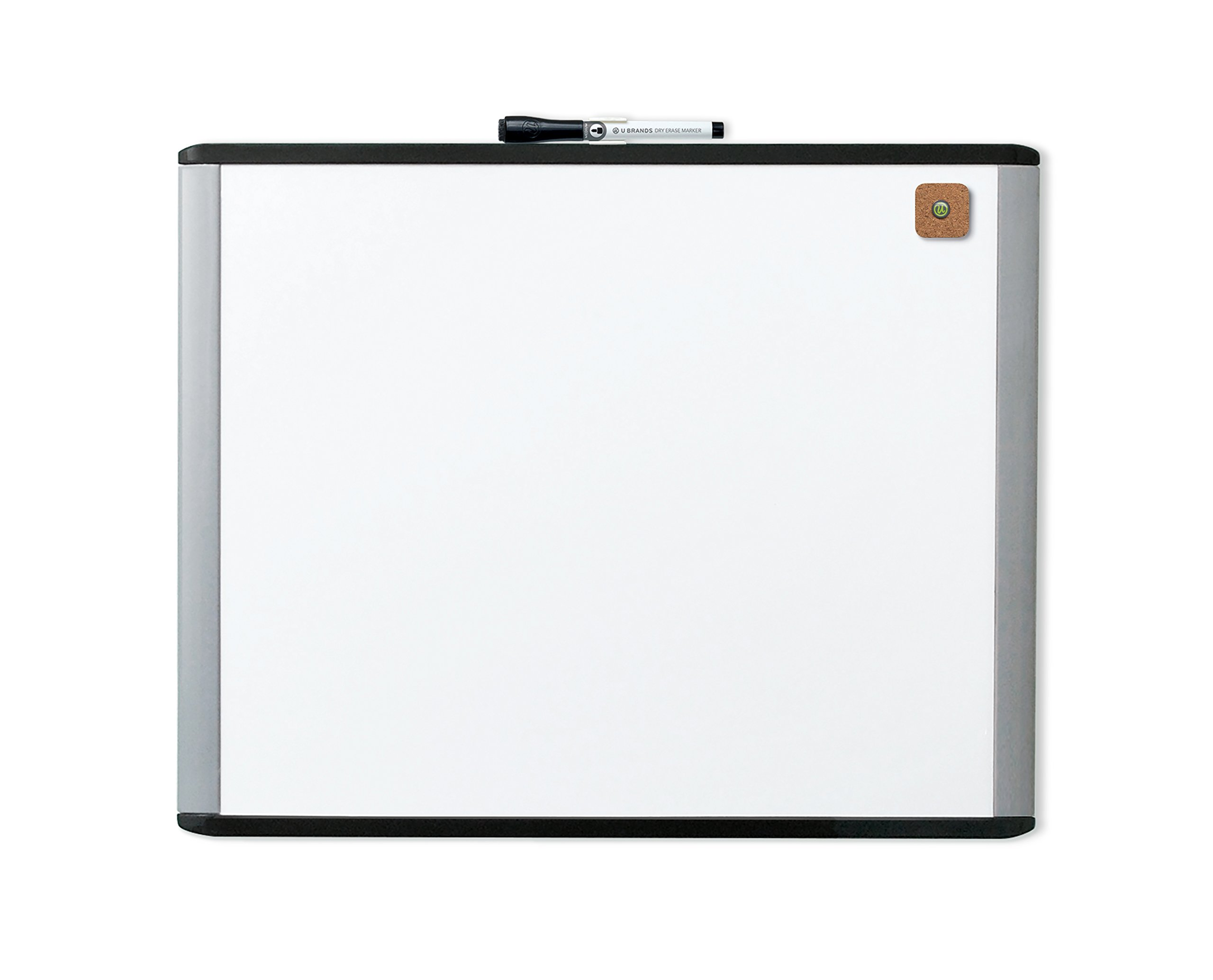 U Brands MOD Magnetic Dry Erase Board, 20 x 16 Inches, Black and Grey Frame